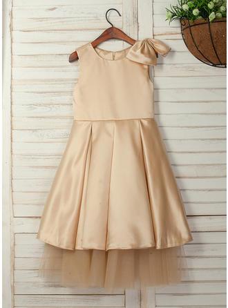 A-Line/Princess Tea-length Flower Girl Dress - Satin Sleeveless Scoop Neck With Bow(s)