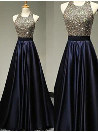 Satin Sleeveless A-Line/Princess Prom Dresses Halter Beading Floor-Length