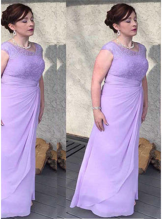 A-Line/Princess Scoop Neck Chiffon Princess Mother of the Bride Dresses