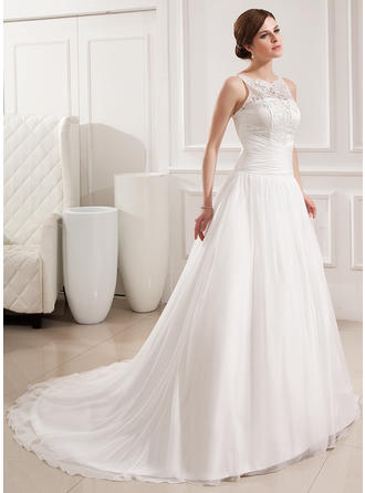 Chiffon Lace Ball-Gown Stunning Ruffle Wedding Dresses