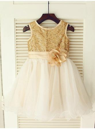 Princess A-Line/Princess Tulle/Sequined Flower Girl Dresses Knee-length Scoop Neck Sleeveless