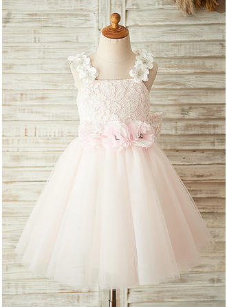 Square Neckline A-Line/Princess Flower Girl Dresses Tulle/Lace Flower(s)/Bow(s)/Rhinestone Sleeveless Knee-length