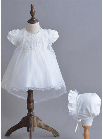 Tulle Scoop Neck Bow(s) Baby Girl's Christening Gowns With Short Sleeves