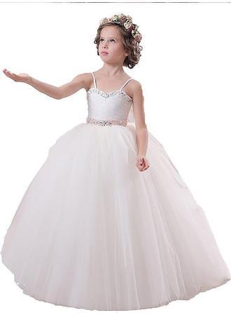 Ball Gown Straps Floor-length With Sash/Beading Satin/Tulle Flower Girl Dresses