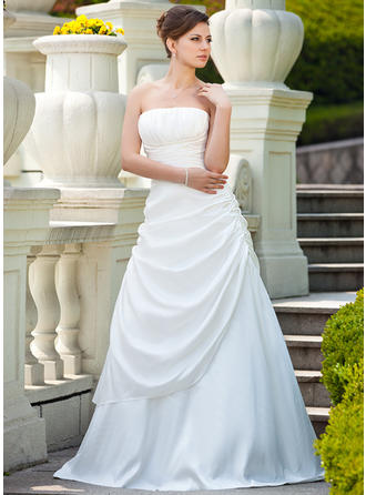 Flattering Taffeta Strapless Sleeveless Wedding Dresses