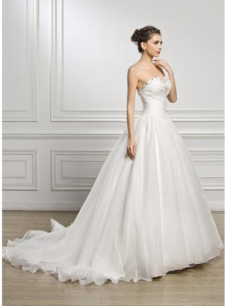 Ball-Gown Sweetheart Court Train Organza Wedding Dress With Ruffle Beading Sequins