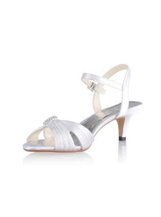 Women's Sandals Slingbacks Cone Heel Silk Like Satin With Buckle Wedding Shoes