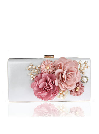 Clutches/Wristlets/Totes/Fashion Handbags/Makeup Bags/Luxury Clutches Wedding/Ceremony & Party/Casual & Shopping/Office & Career Satin Snap Closure Elegant Clutches & Evening Bags (012187876)