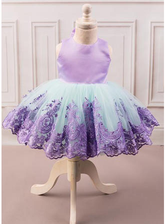 Scoop Neck Short/Mini Satin/Tulle Sleeveless Flower Girl Dresses (010216432)