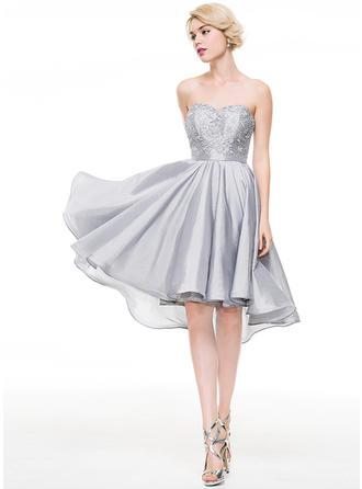 Sweetheart Sleeveless Taffeta Princess Homecoming Dresses