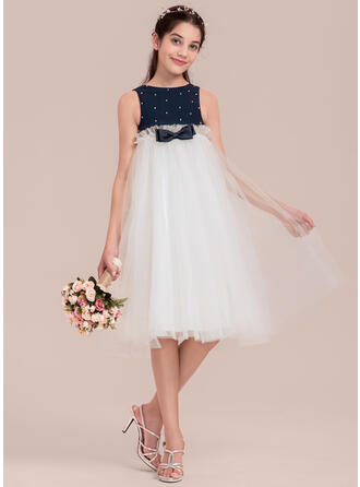 Empire Knee-length Flower Girl Dress - Chiffon/Satin/Tulle Sleeveless Scoop Neck With Beading/Bow(s)