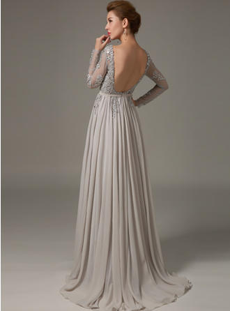 A-Line/Princess Scoop Neck Sweep Train Evening Dress With Beading