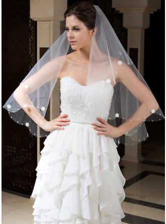 Fingertip Bridal Veils Tulle One-tier Classic With Cut Edge/Beaded Edge Wedding Veils