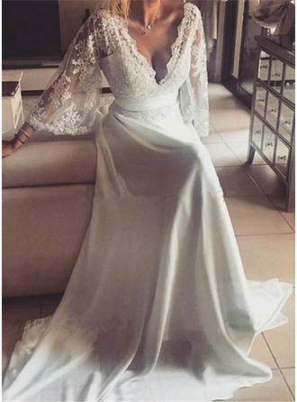 A-Line/Princess Deep V Neck Sweep Train Wedding Dresses With Sash