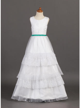 A-Line/Princess Scoop Neck Floor-length With Ruffles/Sash Organza/Satin/Lace Flower Girl Dress