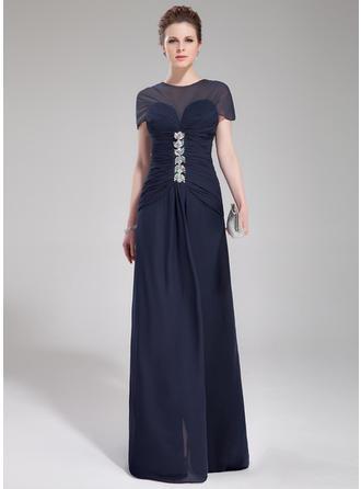 A-Linie/Princess-Linie U-Ausschnitt Sweep/Pinsel zug Abendkleider mit Rüschen Perlstickerei