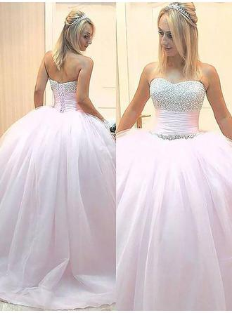 Ball-Gown Tulle Prom Dresses Delicate Floor-Length Sweetheart Sleeveless