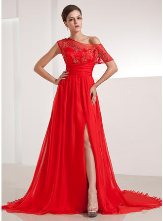 A-Line/Princess Off-the-Shoulder Chiffon Short Sleeves Chapel Train Ruffle Appliques Lace Split Front Evening Dresses