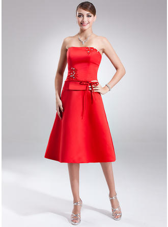 Satin Sleeveless A-Line/Princess Bridesmaid Dresses Strapless Sash Beading Bow(s) Knee-Length