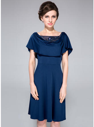 A-Line/Princess Cowl Neck Jersey Short Sleeves Knee-Length Lace Beading Sequins Cascading Ruffles Mother of the Bride Dresses