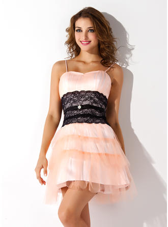 A-Line/Princess Sweetheart Short/Mini Tulle Homecoming Dresses With Ruffle Lace Beading Cascading Ruffles