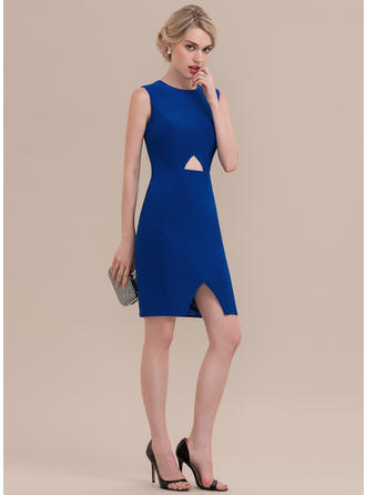 Sheath/Column Scoop Neck Jersey Sleeveless Knee-Length Split Front Cocktail Dresses