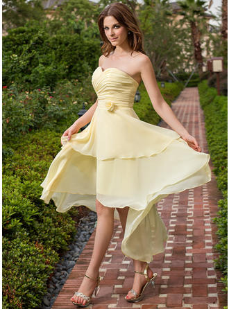 Chiffon Sleeveless A-Line/Princess Bridesmaid Dresses Sweetheart Ruffle Flower(s) Asymmetrical