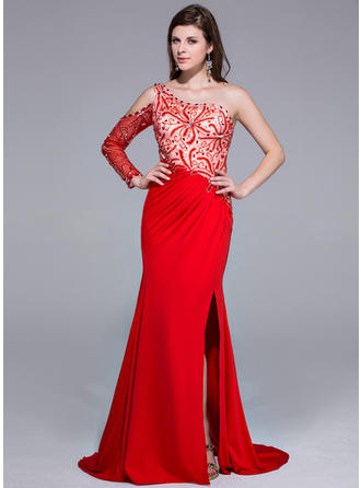 Charmeuse Jersey Long Sleeves Trumpet/Mermaid Prom Dresses One-Shoulder Beading Split Front Sweep Train