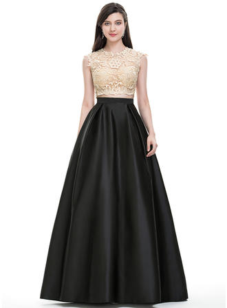 Elegant With Ball-Gown Satin Prom Dresses