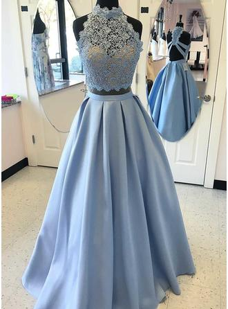 A-Line/Princess High Neck Satin Sleeveless Floor-Length Beading Appliques Lace Evening Dresses