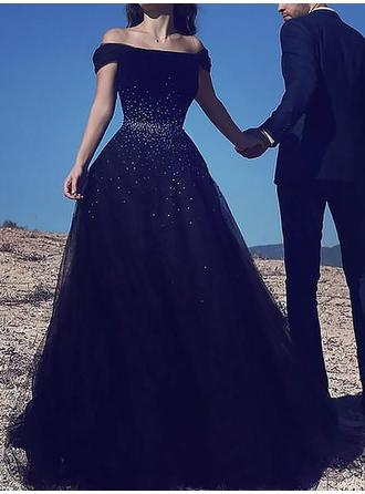 Luxurious Off-the-Shoulder Sleeveless Prom Dresses Floor-Length A-Line/Princess
