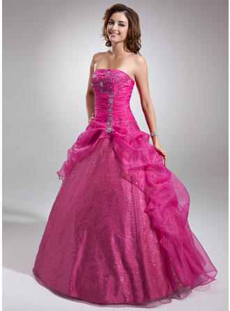 Ball-Gown Strapless Floor-Length Organza Prom Dress With Beading Appliques Lace Sequins