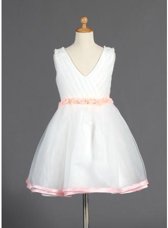 A-Line/Princess V-neck Knee-length With Beading/Flower(s) Organza/Charmeuse Flower Girl Dress