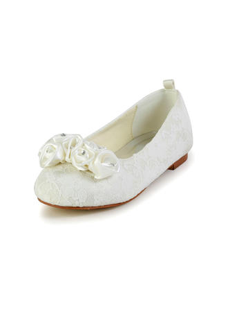 Kids' Closed Toe Flats Flat Heel Lace Satin With Satin Flower Wedding Shoes