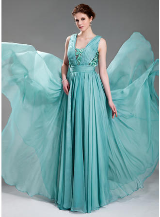 A-Line/Princess V-neck Chiffon Sleeveless Floor-Length Ruffle Beading Appliques Lace Evening Dresses