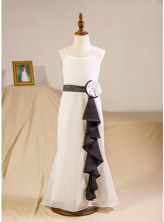 A-Line/Princess Floor-length Flower Girl Dress - Chiffon Sleeveless Straps With Sash/Beading/Flower(s)