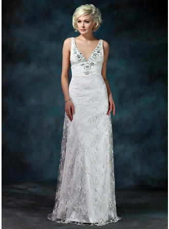 Sheath/Column Watteau Train Wedding Dress With Ruffle Beading Bow(s)
