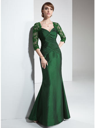 Trumpet/Mermaid Taffeta 3/4 Sleeves Sweetheart Floor-Length Zipper Up Mother of the Bride Dresses