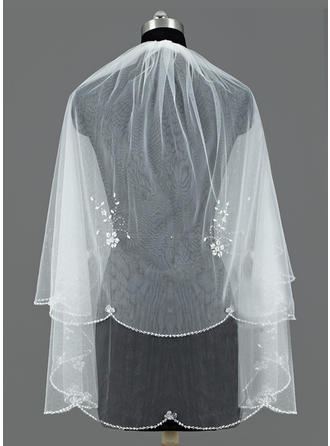 Fingertip Bridal Veils Tulle Two-tier Classic With Sequin Trim Edge Wedding Veils