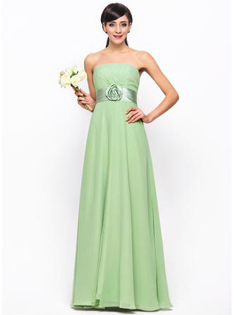 Chiffon Sleeveless Empire Bridesmaid Dresses Strapless Ruffle Flower(s) Floor-Length