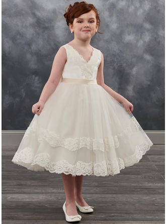 A-Line/Princess V-neck Tea-length With Sash Tulle/Lace Flower Girl Dresses