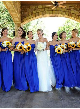 A-Line/Princess Chiffon Bridesmaid Dresses Ruffle Sweetheart Sleeveless Floor-Length