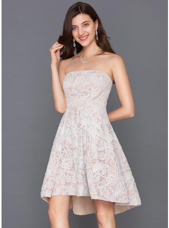 A-Line/Princess Strapless Lace Sleeveless Asymmetrical Cocktail Dresses