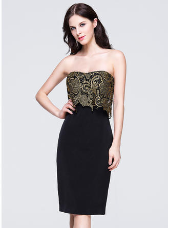 Sheath/Column Sweetheart Lace Sleeveless Knee-Length Evening Dresses