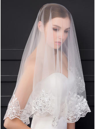 One-tier Lace Applique Edge Elbow Bridal Veils With Sequin/Lace (006150928)