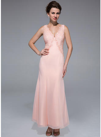 Trumpet/Mermaid V-neck Ankle-Length Mother of the Bride Dresses With Beading