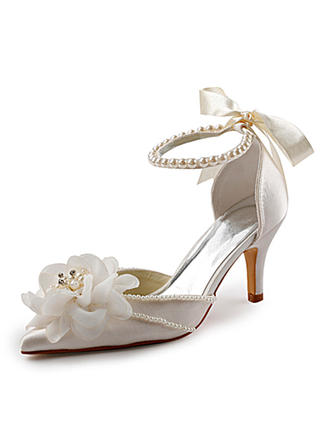 Women's Closed Toe Pumps Stiletto Heel Satin With Imitation Pearl Wedding Shoes