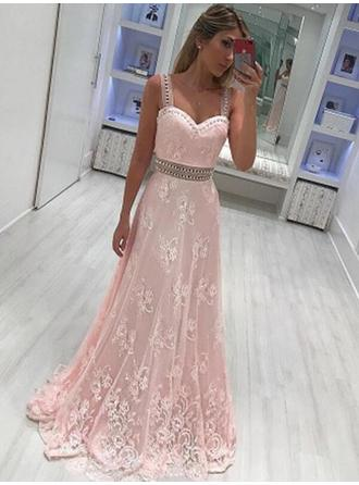 A-Line/Princess Sweetheart Lace Sleeveless Floor-Length Sash Beading Appliques Lace Evening Dresses