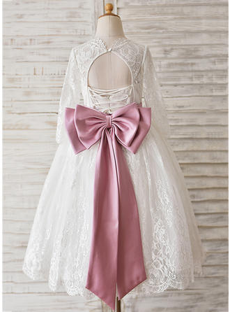 Ball Gown Tea-length With Sash/Beading/Bow(s)/Back Hole Lace Long Sleeves Flower Girl Dresses