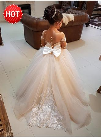 Ball Gown Scoop Neck Sweep Train With Bow(s) Tulle/Lace Flower Girl Dress